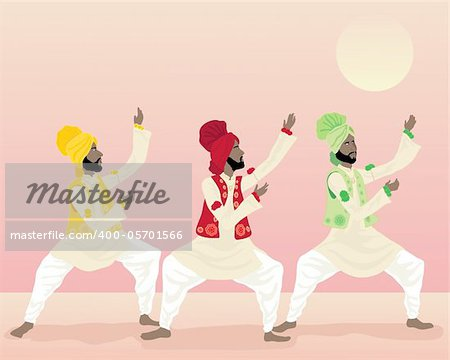 an illustration of three male punjabi dancers in colorful traditional clothing dancing under a warm sun Stock Photo - Budget Royalty-Free, Image code: 400-05701566