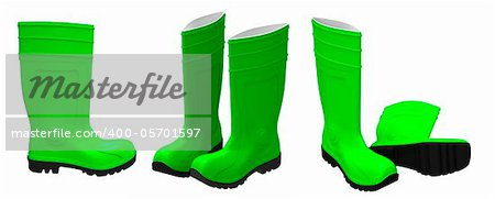 3d render of  green rubber boots on a white background