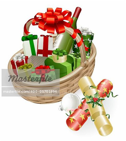 A Christmas basket with wine, gifts, crackers and ball bauble decoration Stock Photo - Budget Royalty-Free, Image code: 400-05701894