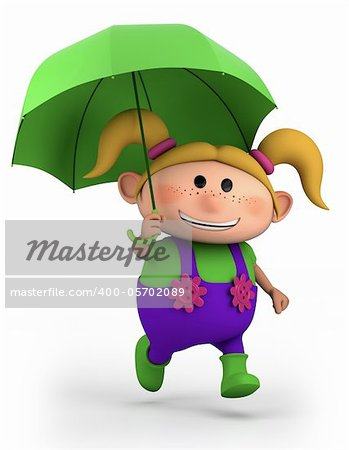 cute school girl with umbrella - high quality 3d illustration Stock Photo - Budget Royalty-Free, Image code: 400-05702089