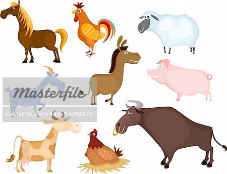 vector illustration of a farm animal set