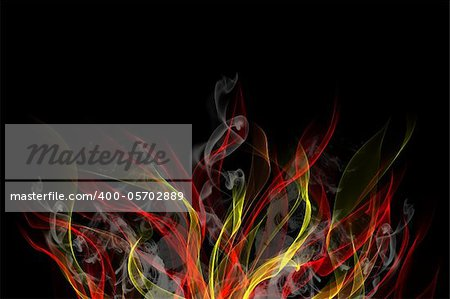 Abstract background of colorful flames and smoke
