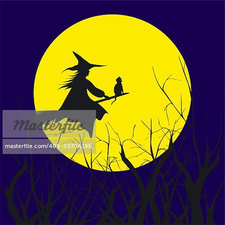Halloween background silhouette of a witch flying in a broom with cat