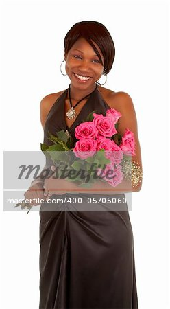 An happy african american woman is posing with her roses. Stock Photo - Budget Royalty-Free, Image code: 400-05705060