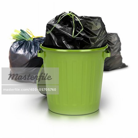 green garbage can over a white background with a plastic closed bag inside and two other plastic bags at the rear side - studio shot plus 3d trash Stock Photo - Royalty-Free, Artist: olivier26, Code: 400-05705760