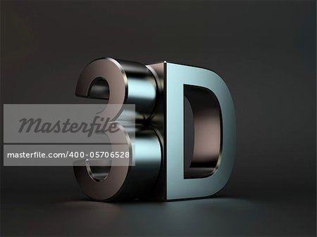 3d render of 3D text with reflection on black background Stock Photo - Budget Royalty-Free, Image code: 400-05706528