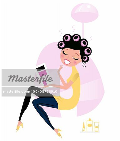 Cute beautiful female sitting in hair salon and reading magazine. Vector cartoon illustration. Stock Photo - Budget Royalty-Free, Image code: 400-05706910