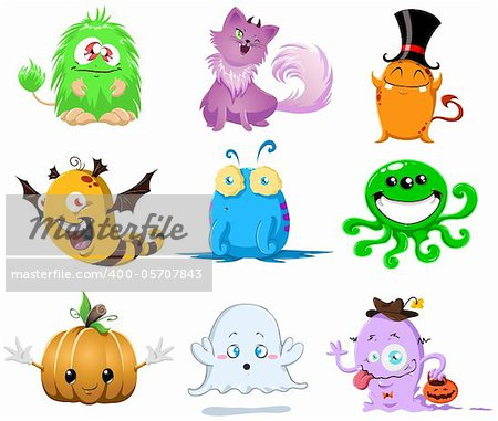 A vector illustration of cute funny and scary monsters for Halloween. Stock Photo - Budget Royalty-Free, Image code: 400-05707843