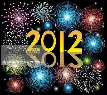 vector illustration of 2012 fireworks