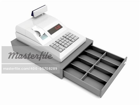 Cash register with opened empty drawer