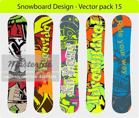 Snowboard design pack - five full editable designs - vector Illustration version also available