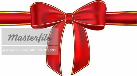 Red satin ribbon with bow isolated on white background. Gift. Vector illustration