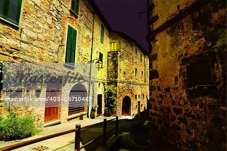 Typical Medieval Italian City at Midnight Stock Photo - Budget Royalty-Free, Image code: 400-05710467