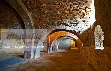Vaulted Dungeon of Royal Monastery in Aragon, Spain Stock Photo - Budget Royalty-Free, Image code: 400-05710474