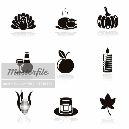 set of 9 black thanksgiving day icons Stock Photo - Budget Royalty-Free, Image code: 400-05710525
