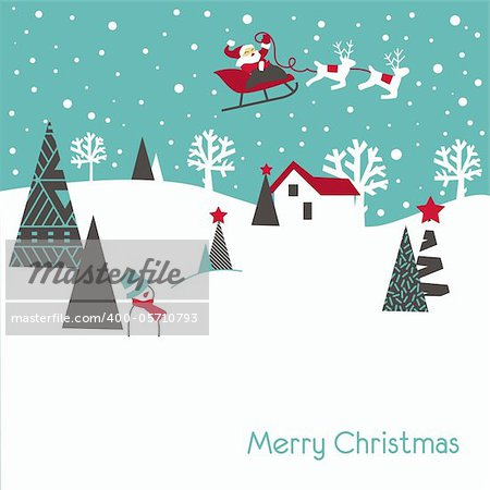 Retro style Christmas card in blue and grey colours