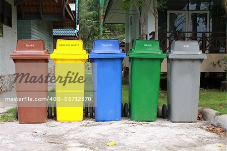 five colors recycle bins in national park, Thailand. Stock Photo - Budget Royalty-Free, Image code: 400-05712870