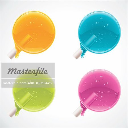 Set of detailed glossy lollipops with caramel drops