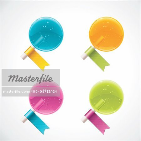 Set of detailed glossy lollipops with colorful ribbons