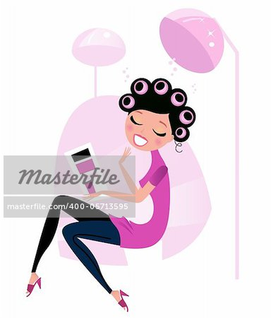 Lady relaxing & reading magazine in Hair Salon Stock Photo - Budget Royalty-Free, Image code: 400-05713595