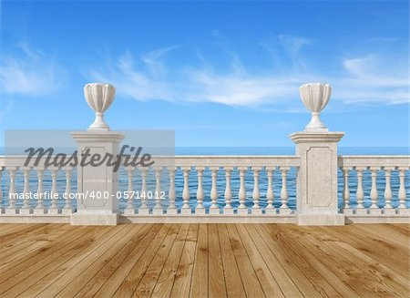 empty terrace overlooking the sea with concrete balustrade and wooden floor - rendering- the image on background is a my rendering composition Stock Photo - Budget Royalty-Free, Image code: 400-05714012