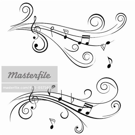 Ornamental music notes with swirls on white background Stock Photo - Royalty-Free, Artist: soleilc, Code: 400-05714680