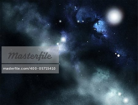 Digital created starfield with cosmic Nebula Stock Photo - Budget Royalty-Free, Image code: 400-05715410