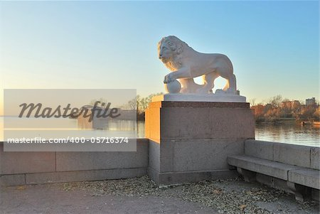 Saint-Petersburg. Lion on the quay of  Elagin Island