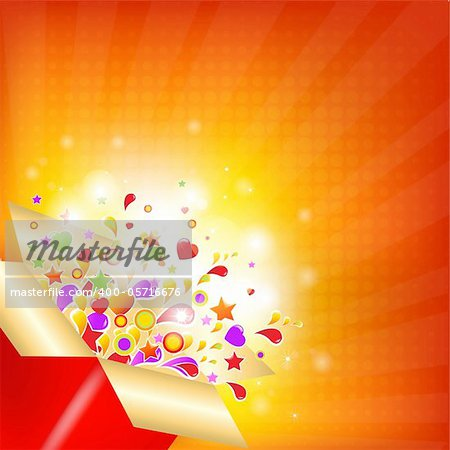 Colorful Gift Box With Sunburst, Vector Illustration