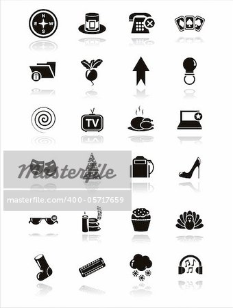 set of 21 black web icons