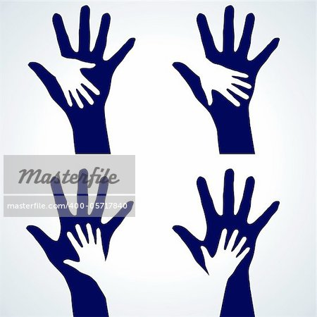 Set of Two hands silhouette. Illustration on white background.