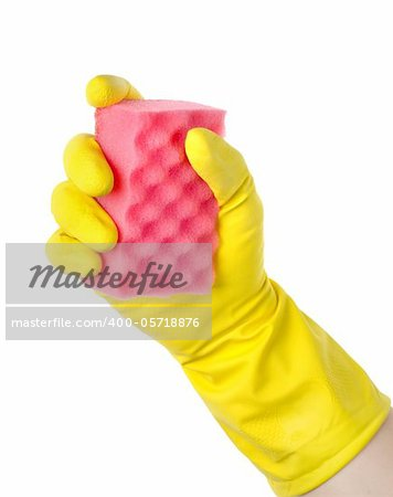 Yellow cleaning glove with a sponge against a white background