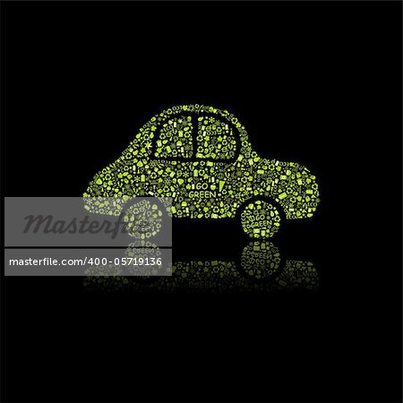 Green Car Icon. Pollution Concept. Go Green. Vector Illustration.