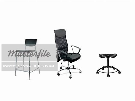 Chairs isolated against a white background
