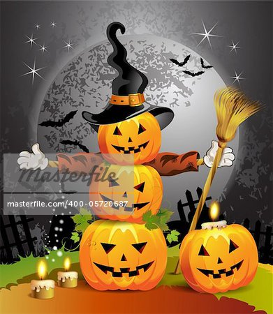 Halloween pumpkin with witches hat Stock Photo - Budget Royalty-Free, Image code: 400-05720687