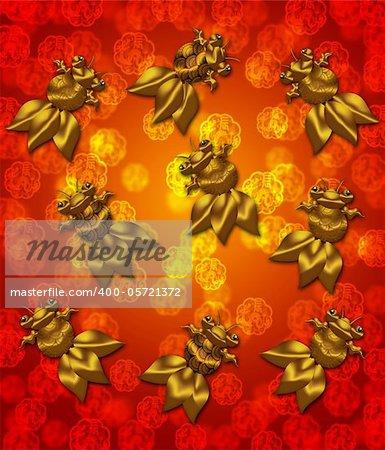 Golden Metallic Chinese Goldfish on Red Blurred Background Illustration