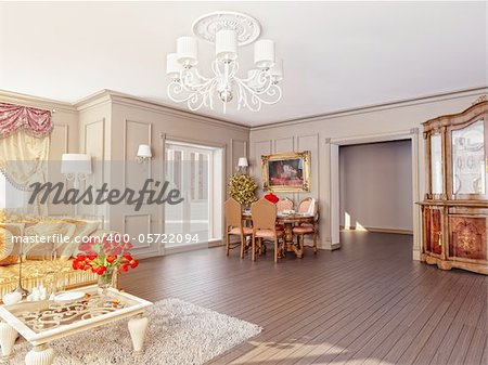 modern classic interior (3D rendering)