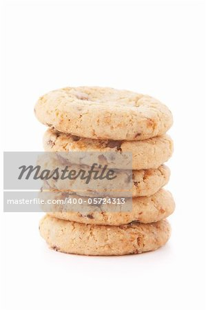 Stack of cookies against a white background
