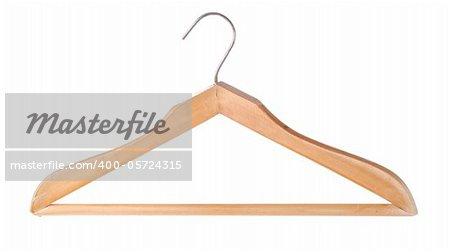 Wooden hanger isolated on a white background