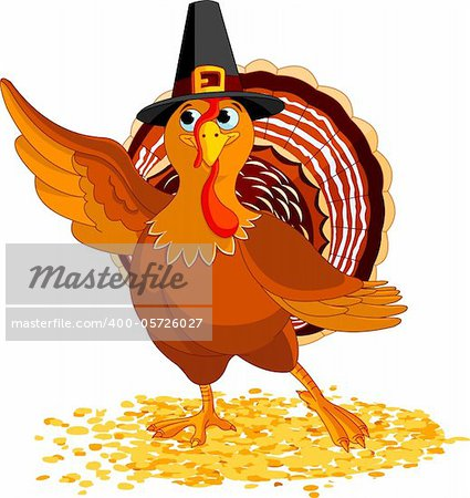 Illustration of Happy Thanksgiving Turkey presenting Stock Photo - Budget Royalty-Free, Image code: 400-05726027