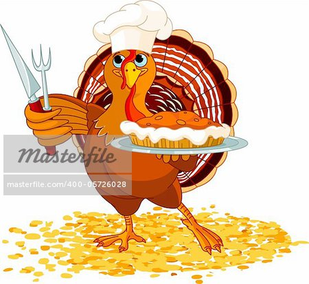 Thanksgiving turkey serving pumpkin pie Stock Photo - Budget Royalty-Free, Image code: 400-05726028