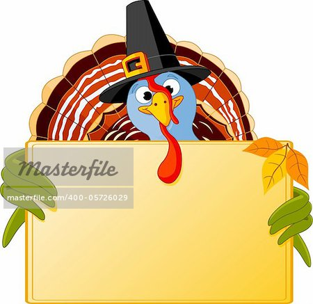 Cartoon turkey over blank sign Stock Photo - Budget Royalty-Free, Image code: 400-05726029