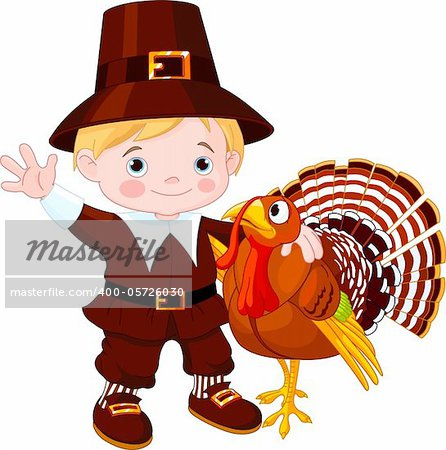 Illustration of cute pilgrim hug the turkey Stock Photo - Budget Royalty-Free, Image code: 400-05726030