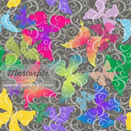 Seamless gray pattern with colorful transparent butterflies and curls (vector EPS 10)
