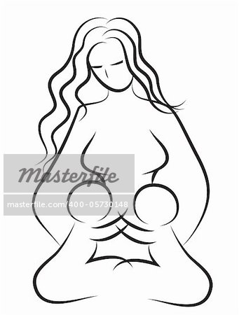 Mother and baby icon. Woman family  child vector. Line drawing. Sketch silhouette. Stock Photo - Budget Royalty-Free, Image code: 400-05730148