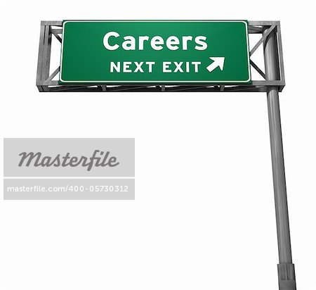 Careers Freeway Exit Sign. 3D illustration isolated on white background.