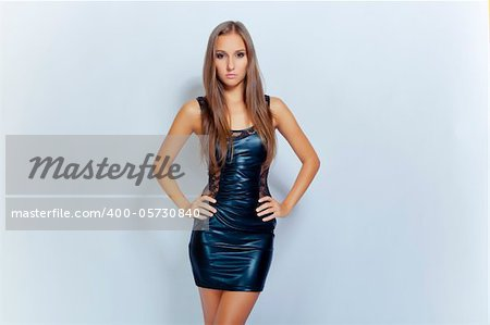 sexy young brunette fashion girl in black mini clothing Stock Photo - Budget Royalty-Free, Image code: 400-05730840