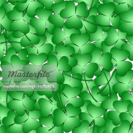 St Patricks Day Shamrock Leaves Seamless Tile Background Illustration