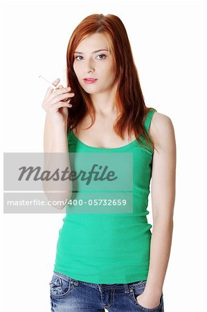 Pretty caucasian standing teen girl holding cigarette. Stock Photo - Budget Royalty-Free, Image code: 400-05732659