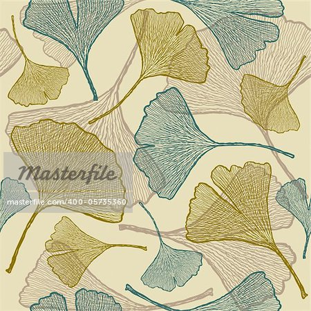Seamless ginkgo background. Vector illustration with clipping mask. Stock Photo - Royalty-Free, Artist: iatsun, Code: 400-05735360